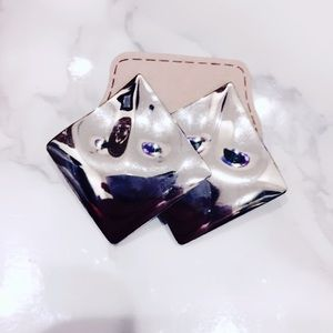 Silver Tone Square Earrings Large Vintage
